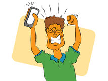 Angry Cell Phone Man Stock Images