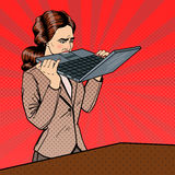 Frustrated Stressed Business Woman Biting Laptop in Office. Pop Art. Vector illustration stock illustration