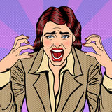 Frustrated Stressed Business Woman Screaming. Pop Art. Vector illustration vector illustration
