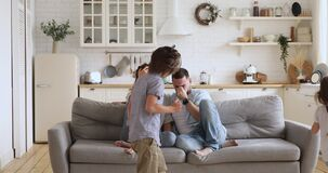 Frustrated stressed parents feel tired annoyed about active kids