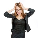 Frustrated and stressed young businesswoman. Royalty Free Stock Photos