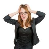 Frustrated and stressed young businesswoman. Stock Photos