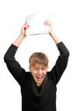 Frustrated student. Fling down own books Stock Images