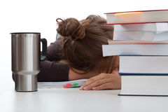 Frustrated student with a coffee Royalty Free Stock Photography