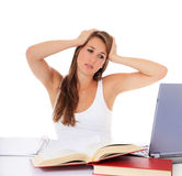 Frustrated student with laptop Stock Photography