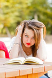 Frustrated Student Tearing Hair Stock Images