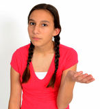 Frustrated teen girl with braids with hand out Royalty Free Stock Photo