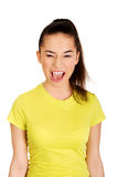 Frustrated teen woman screaming. Royalty Free Stock Photo
