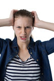 Frustrated teenage girl scratching her head Stock Images