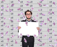 Frustrated trader holding blank poster Stock Image