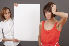 Frustrated Woman And Selling Agent Stock Photography