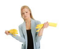 Frustrated woman in despair before cleaning Royalty Free Stock Photo