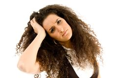 Frustrated woman holding her head Royalty Free Stock Image