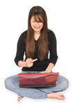 Frustrated woman and laptop Royalty Free Stock Image