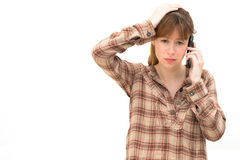Frustrated Woman on Phone Stock Image