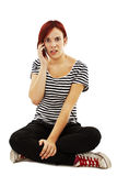 Frustrated Woman on Phone. Isolated On White Background Royalty Free Stock Photos