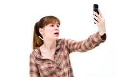 Frustrated Woman on Phone Stock Photography