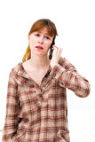 Frustrated Woman on Phone. On white background Royalty Free Stock Photos