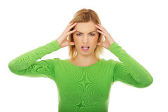 Frustrated woman screaming. Frustrated and angry woman screaming loud Royalty Free Stock Photography