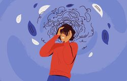 Free Frustrated Woman With Nervous Problem Feel Anxiety And Confusion Of Thoughts Vector Flat Illustration. Mental Disorder Stock Image - 188956921