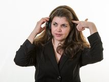 Frustrated woman working in a call center Royalty Free Stock Photography