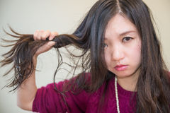 Frustrated woman. Young woman pulling her hair looking frustrated Royalty Free Stock Photos