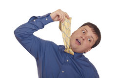 Frustrated worker wants to hang himself Royalty Free Stock Photo
