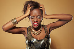 Frustrated young african woman Stock Images