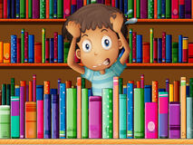 A frustrated young man in the library. Illustration of a frustrated young man in the library stock illustration