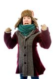 Frustrated young woman in warm clothing Royalty Free Stock Photo