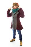 Frustrated young woman in warm clothing Stock Photography