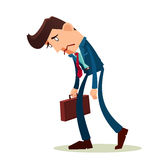Frustrated young worker. With a long face vector illustration