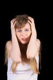 Frustrating headache. Devastated young women struggling with headache pain stock photos