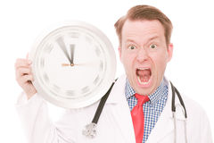 Frustrating medical time (spinning watch hands version) Royalty Free Stock Image