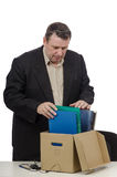 Frustrating middle-aged clerk. Cause he lost his job right now Royalty Free Stock Photos