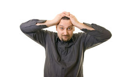 Frustration. Stressed man holding his head Royalty Free Stock Photography