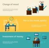 Frustration Banner Set. Frustration horizontal banner set with flat mood problem elements isolated vector illustration Stock Image