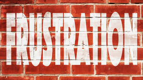 Frustration On A Brick Wall. Frustration Written On A Brick Wall Stock Photography