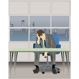 Frustration for businessman. Businessman sitting in his chair with his hands on his hands in frustration and stress Stock Photo
