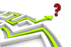 Frustration concept. Question mark at the end of a maze Stock Photo