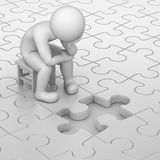 Frustration. 3d human and one missing puzzle piece royalty free illustration