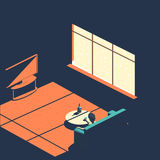 Frustration and depression isometric Banner. Frustration Banner. Isomeric flat with a man and moon light. Depression illustration. Bad mood design Stock Image