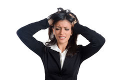 Frustration. Frustrated and stressed young businesswoman in suit Stock Photo