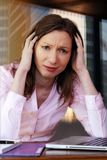 Frustration frustrated woman business Financial crisis worried jobless office Executive stock images