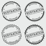 Frustration insignia stamp isolated on white. Frustration insignia stamp isolated on white background. Grunge round hipster seal with text, ink texture and Stock Images
