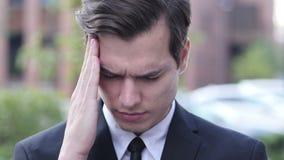Frustration, Tension, Stress Gesture by  Businessman with  Headache. Creative designer , web designer stock footage