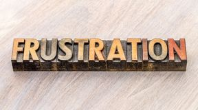 Frustration word abstract in wood type Royalty Free Stock Images