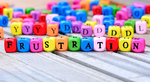 Frustration word on table Royalty Free Stock Images