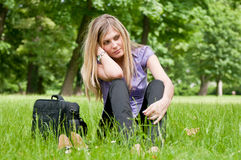 Frustration - young woman outdoors Stock Photos