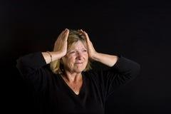 frustrationladypensionär Royaltyfri Bild